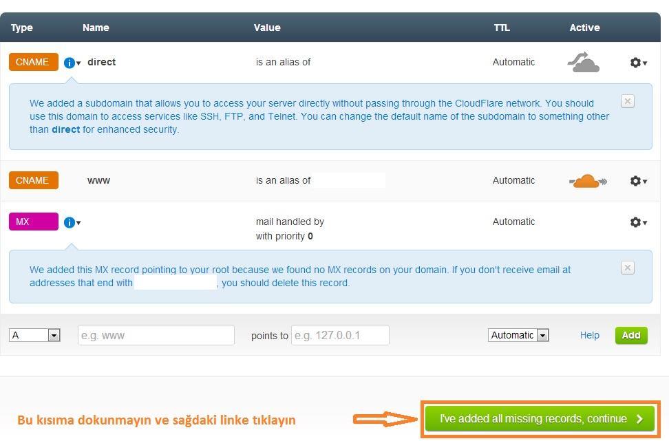 cloudflare kayit ayarlarini degistirme