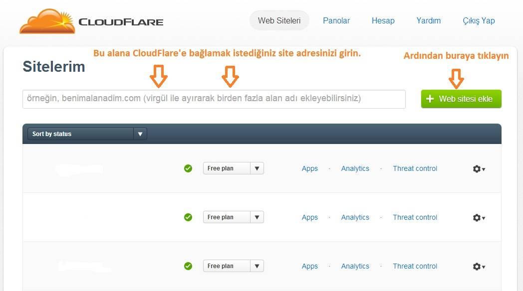 cloudflare kayit islemi 1
