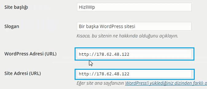 digitalocean wordpress genel ayarlar ve IP adresi değiştirme