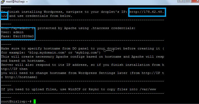 digitalocean kullanıcı bilgileri wordpress