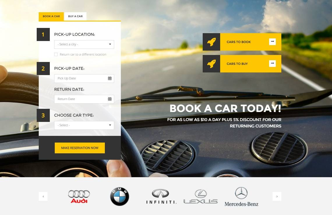 auto rent wordpress araba kiralama teması