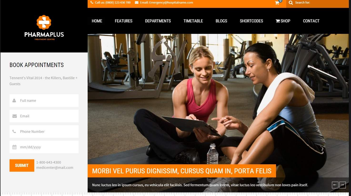 pharma gym wordpress spor temasi