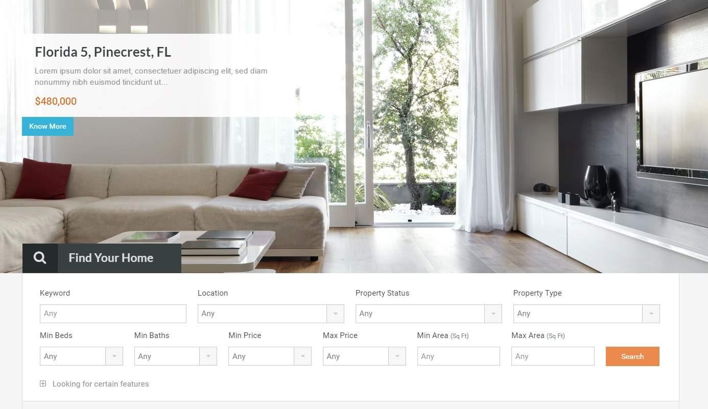 Wordpress emlak teması real homes