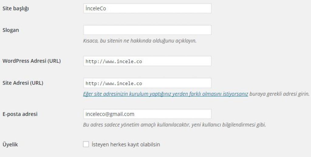 wordpress genel ayarlar sekmesindeki düzenlemeleri nasıl yaparız