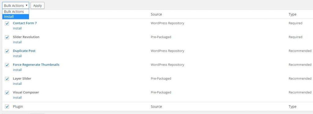 wordpress gerkeli eklenlentilerin betheme ile beraber kurulmasıı
