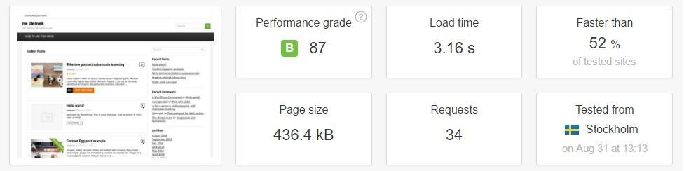 hostgator paylaşımlı hosting paketi şle pingdom üzerinde yapılan testler
