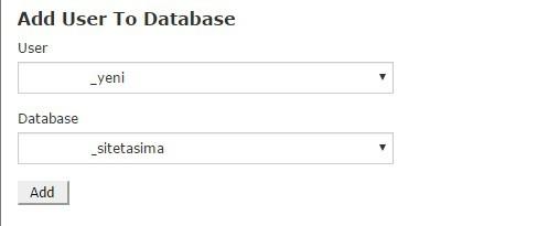 kullanıcı adı ve veritabanı eşleştirme