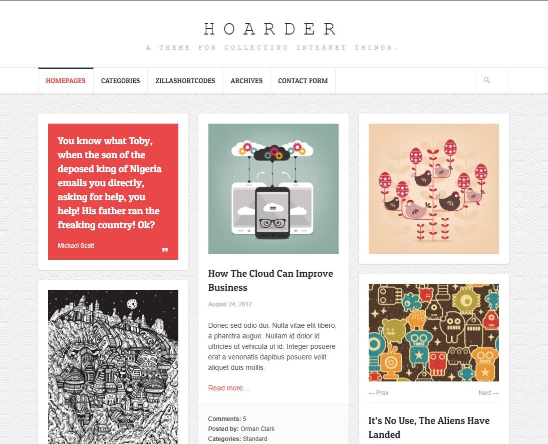 Hoarder WordPress temasi