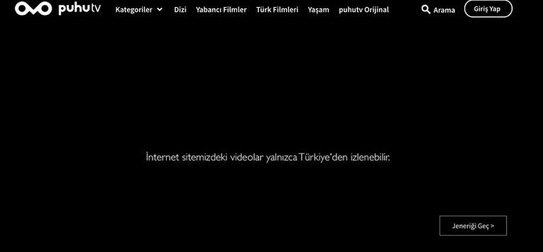 PuhuTV içeriklerine yurt dışından erişmek istediğimizde karşılaşacağımım uyarı ekranı bu şekilde olacak.