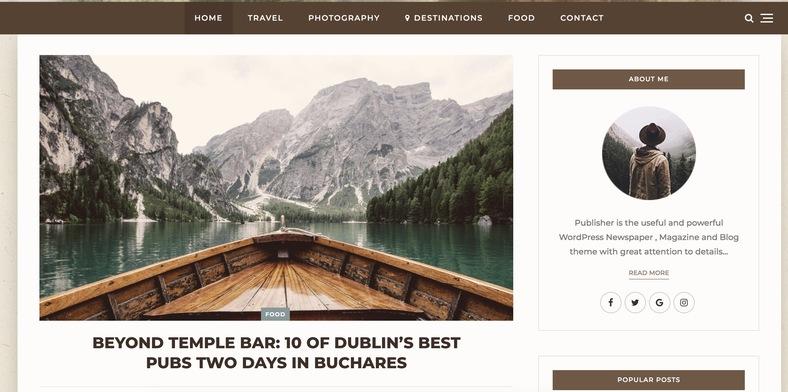 Publisher WordPress gezi blog temasi ile para kazanmaya başlayın